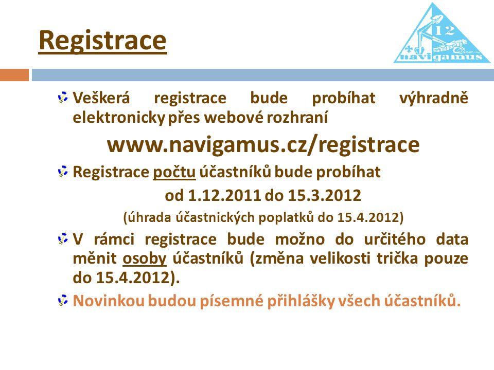 Registrace Veškerá registrace bude probíhat výhradně elektronicky přes webové rozhraní www.navigamus.cz/registrace Registrace počtu účastníků bude probíhat od 1.12.2011 do 15.3.2012 (úhrada účastnických poplatků do 15.4.2012) V rámci registrace bude možno do určitého data měnit osoby účastníků (změna velikosti trička pouze do 15.4.2012).