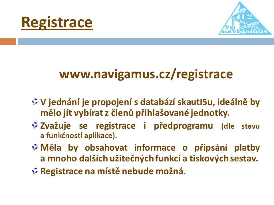 Registrace www.navigamus.cz/registrace V jednání je propojení s databází skautISu, ideálně by mělo jít vybírat z členů přihlašované jednotky. Zvažuje