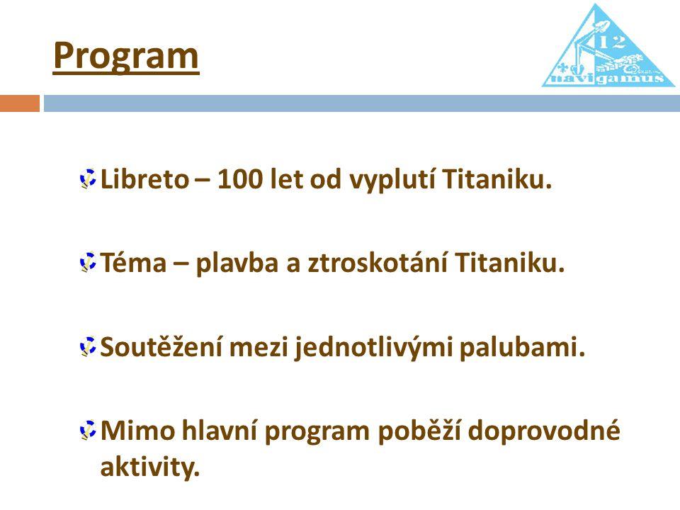 Program Libreto – 100 let od vyplutí Titaniku. Téma – plavba a ztroskotání Titaniku. Soutěžení mezi jednotlivými palubami. Mimo hlavní program poběží