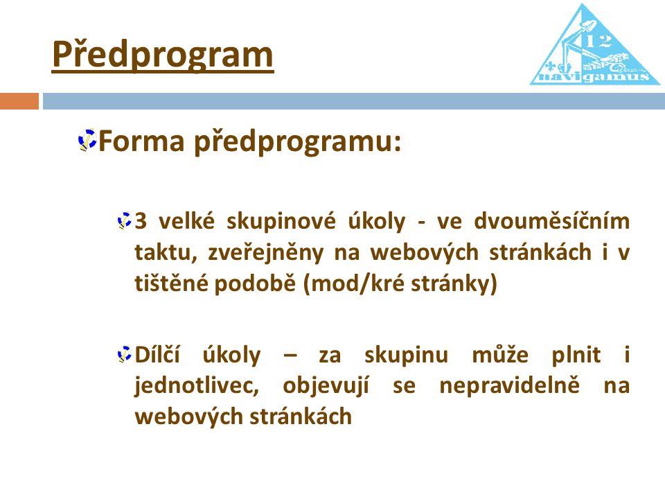 Předprogram Forma předprogramu: 3 velké skupinové úkoly - ve dvouměsíčním taktu, zveřejněny na webových stránkách i v tištěné podobě (mod/kré stránky) Dílčí úkoly – za skupinu může plnit i jednotlivec, objevují se nepravidelně na webových stránkách