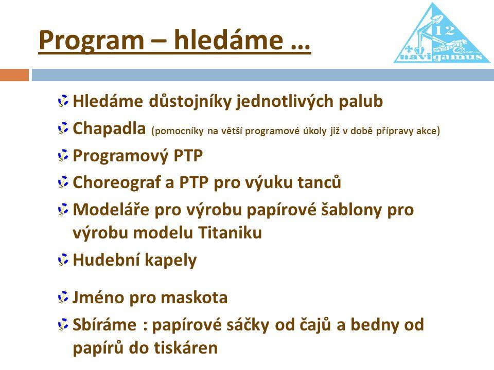 Program – hledáme … Hledáme důstojníky jednotlivých palub Chapadla (pomocníky na větší programové úkoly již v době přípravy akce) Programový PTP Chore