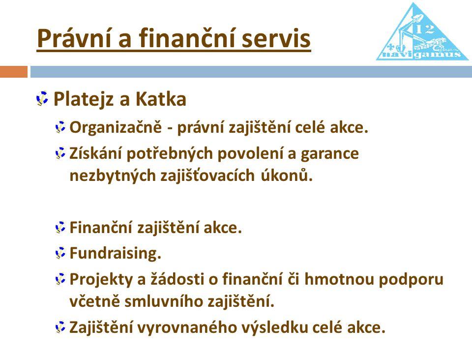 Právní a finanční servis Platejz a Katka Organizačně - právní zajištění celé akce. Získání potřebných povolení a garance nezbytných zajišťovacích úkon