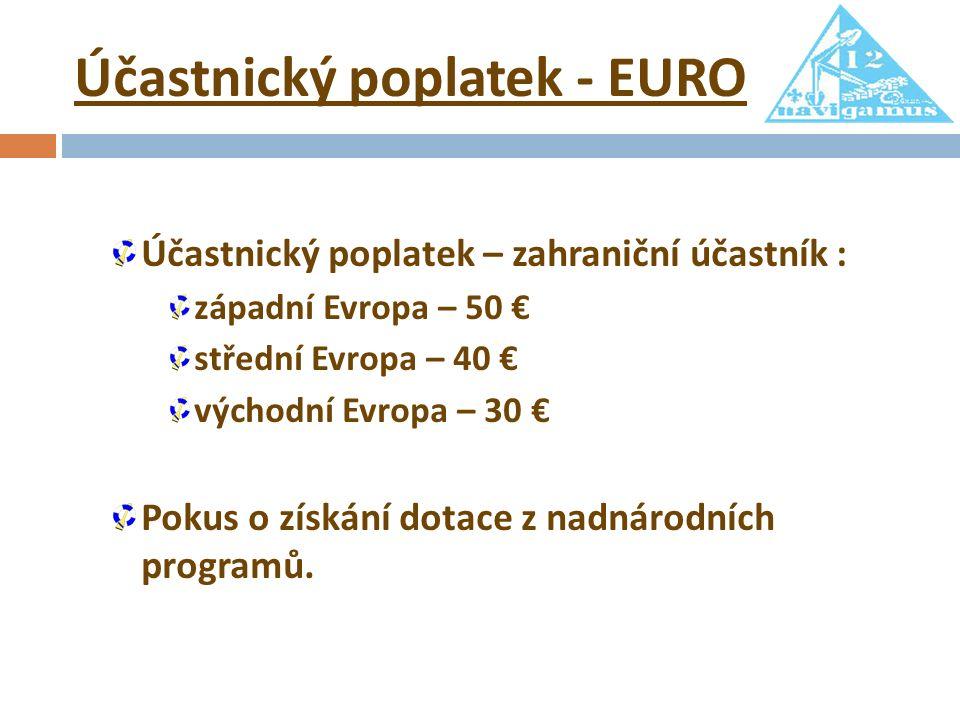 Účastnický poplatek - EURO Účastnický poplatek – zahraniční účastník : západní Evropa – 50 € střední Evropa – 40 € východní Evropa – 30 € Pokus o získání dotace z nadnárodních programů.