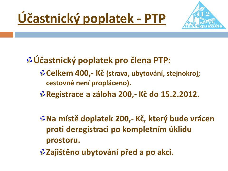 Účastnický poplatek - PTP Účastnický poplatek pro člena PTP: Celkem 400,- Kč (strava, ubytování, stejnokroj; cestovné není propláceno).