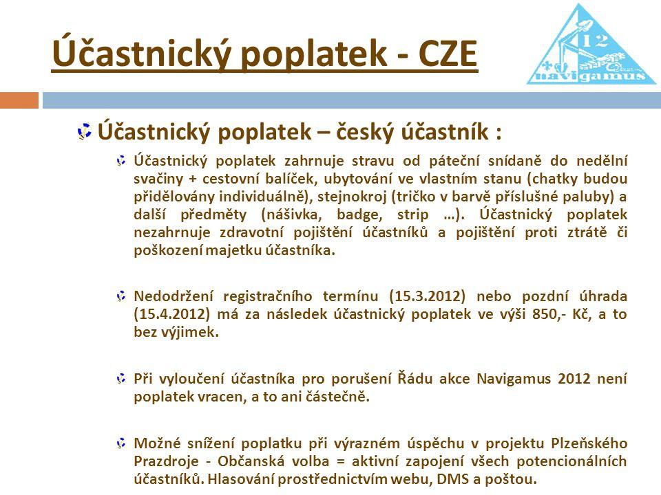 Účastnický poplatek - CZE Účastnický poplatek – český účastník : Účastnický poplatek zahrnuje stravu od páteční snídaně do nedělní svačiny + cestovní