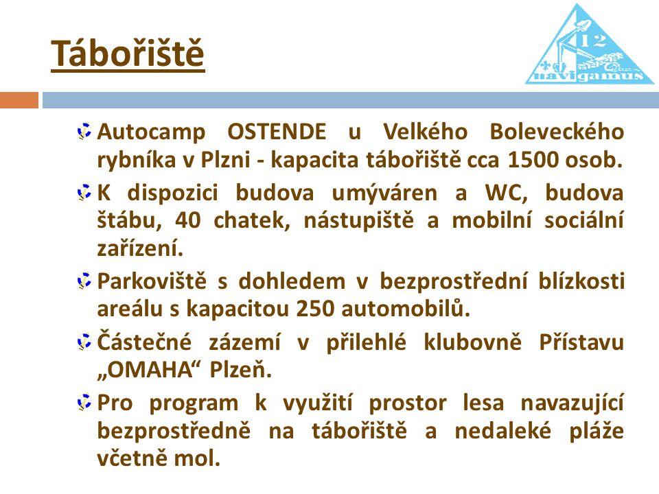 Tábořiště Autocamp OSTENDE u Velkého Boleveckého rybníka v Plzni - kapacita tábořiště cca 1500 osob. K dispozici budova umýváren a WC, budova štábu, 4