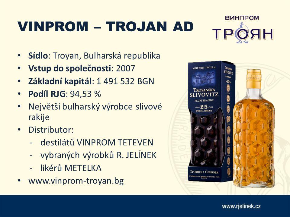VINPROM – TROJAN AD Sídlo: Troyan, Bulharská republika Vstup do společnosti: 2007 Základní kapitál: 1 491 532 BGN Podíl RJG: 94,53 % Největší bulharský výrobce slivové rakije Distributor: - destilátů VINPROM TETEVEN -vybraných výrobků R.