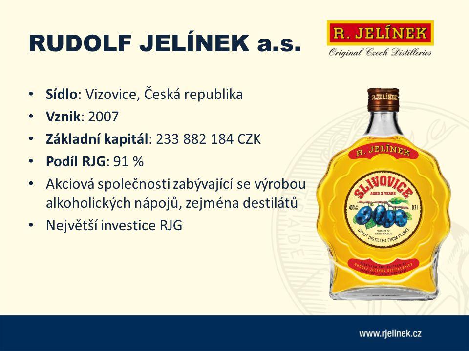 RUDOLF JELÍNEK a.s. Sídlo: Vizovice, Česká republika Vznik: 2007 Základní kapitál: 233 882 184 CZK Podíl RJG: 91 % Akciová společnosti zabývající se v