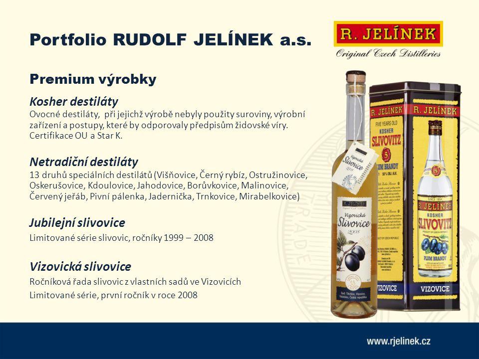 Portfolio RUDOLF JELÍNEK a.s. Premium výrobky Kosher destiláty Ovocné destiláty, při jejichž výrobě nebyly použity suroviny, výrobní zařízení a postup