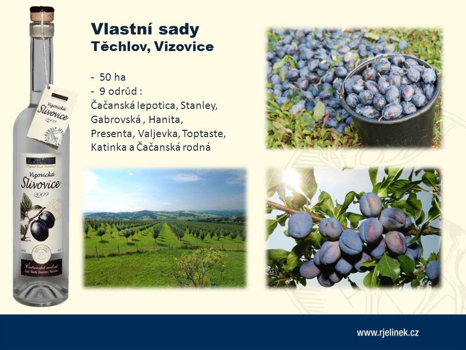 Vlastní sady Těchlov, Vizovice - 50 ha - 9 odrůd : Čačanská lepotica, Stanley, Gabrovská, Hanita, Presenta, Valjevka, Toptaste, Katinka a Čačanská rod
