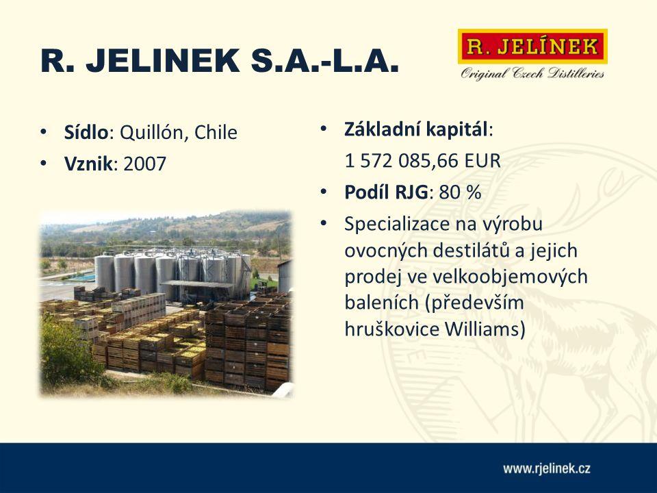 R. JELINEK S.A.-L.A. Sídlo: Quillón, Chile Vznik: 2007 Základní kapitál: 1 572 085,66 EUR Podíl RJG: 80 % Specializace na výrobu ovocných destilátů a