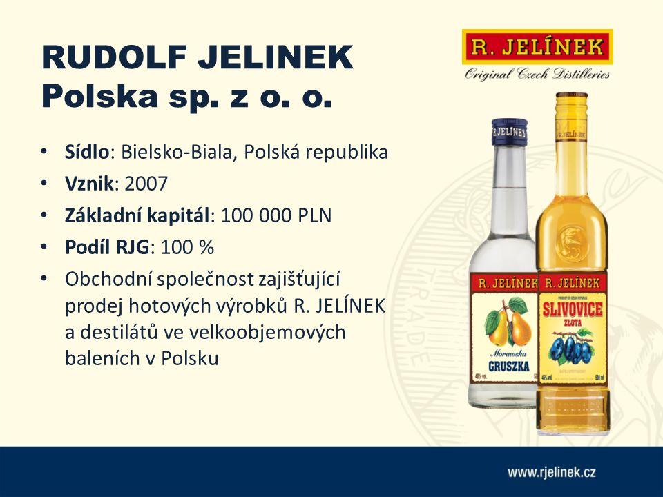 RUDOLF JELINEK Polska sp. z o. o. Sídlo: Bielsko-Biala, Polská republika Vznik: 2007 Základní kapitál: 100 000 PLN Podíl RJG: 100 % Obchodní společnos