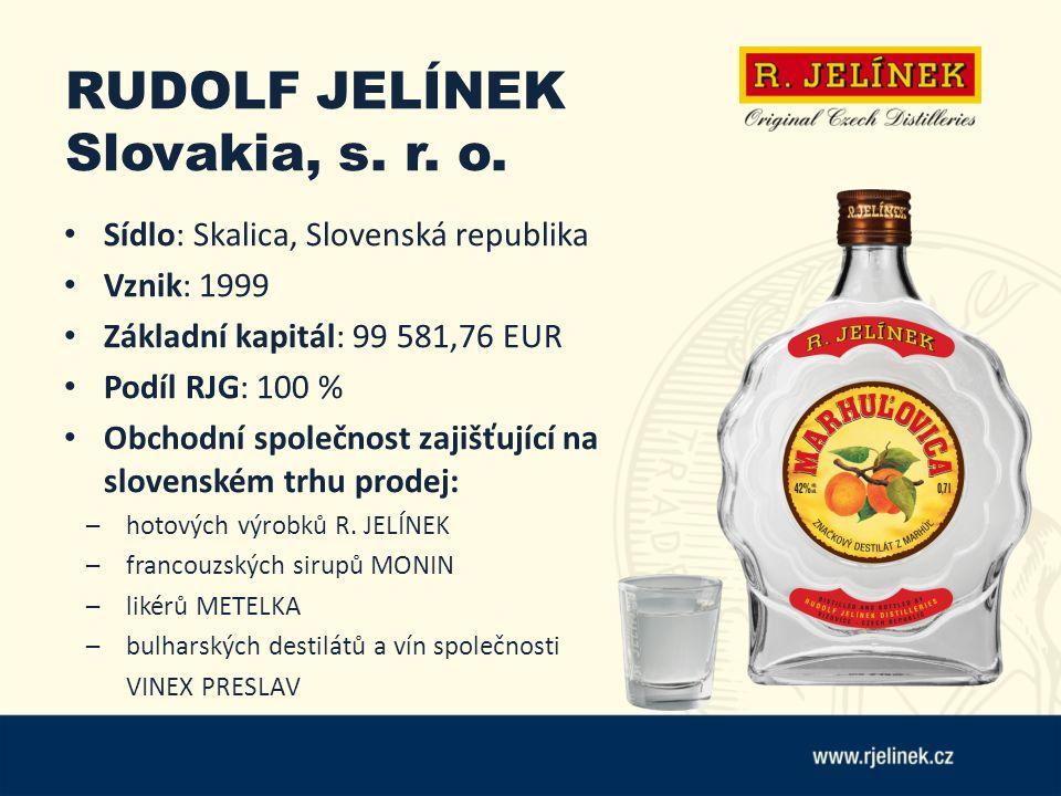 RUDOLF JELÍNEK Slovakia, s. r. o. Sídlo: Skalica, Slovenská republika Vznik: 1999 Základní kapitál: 99 581,76 EUR Podíl RJG: 100 % Obchodní společnost