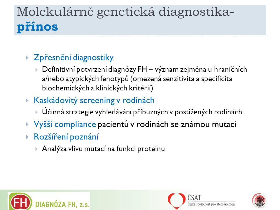 Molekulárně genetická diagnostika- přínos  Zpřesnění diagnostiky  Definitivní potvrzení diagnózy FH – význam zejména u hraničních a/nebo atypických