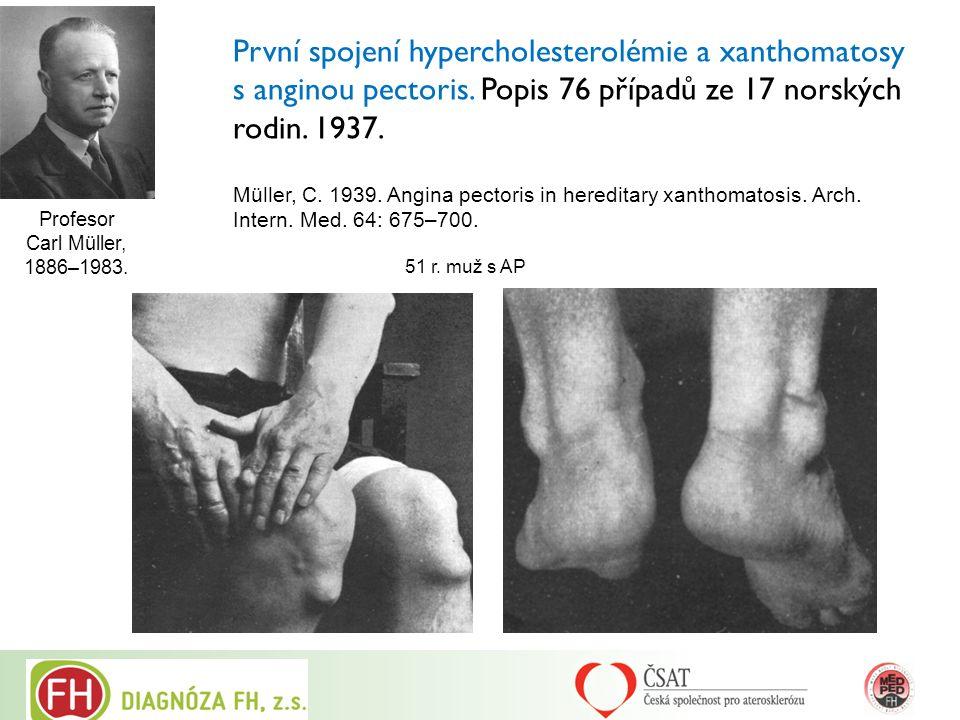 Profesor Carl Müller, 1886–1983. 51 r. muž s AP První spojení hypercholesterolémie a xanthomatosy s anginou pectoris. Popis 76 případů ze 17 norských