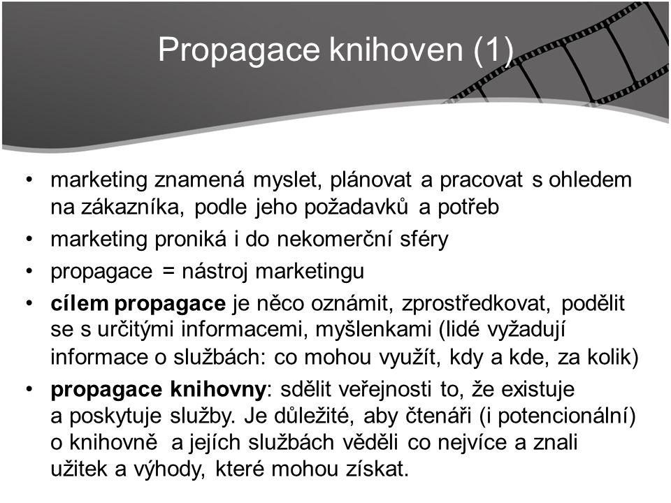 Title marketing znamená myslet, plánovat a pracovat s ohledem na zákazníka, podle jeho požadavků a potřeb marketing proniká i do nekomerční sféry propagace = nástroj marketingu cílem propagace je něco oznámit, zprostředkovat, podělit se s určitými informacemi, myšlenkami (lidé vyžadují informace o službách: co mohou využít, kdy a kde, za kolik) propagace knihovny: sdělit veřejnosti to, že existuje a poskytuje služby.