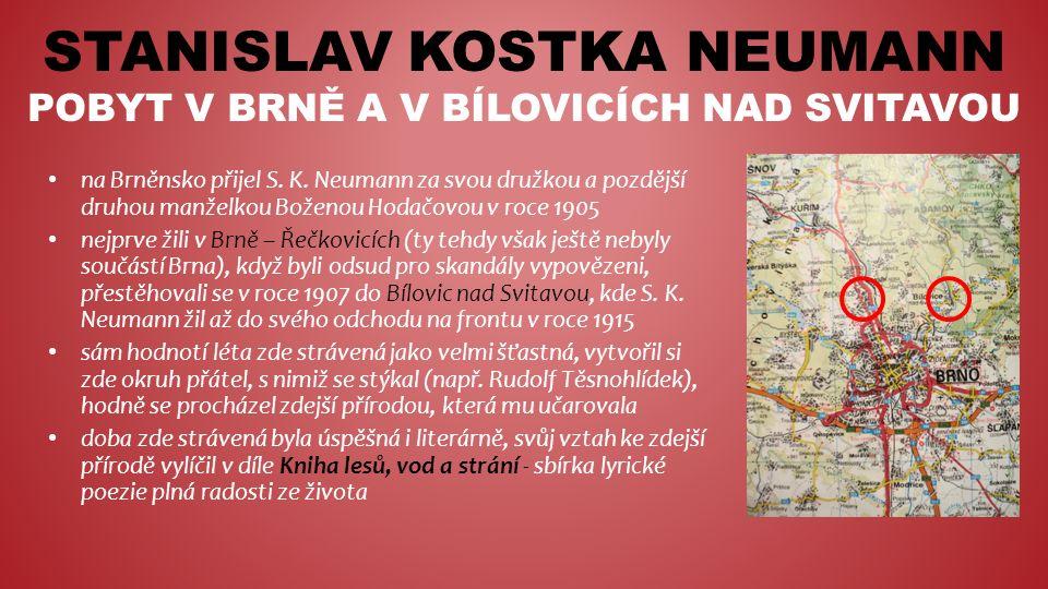 STANISLAV KOSTKA NEUMANN POBYT V BRNĚ A V BÍLOVICÍCH NAD SVITAVOU na Brněnsko přijel S.