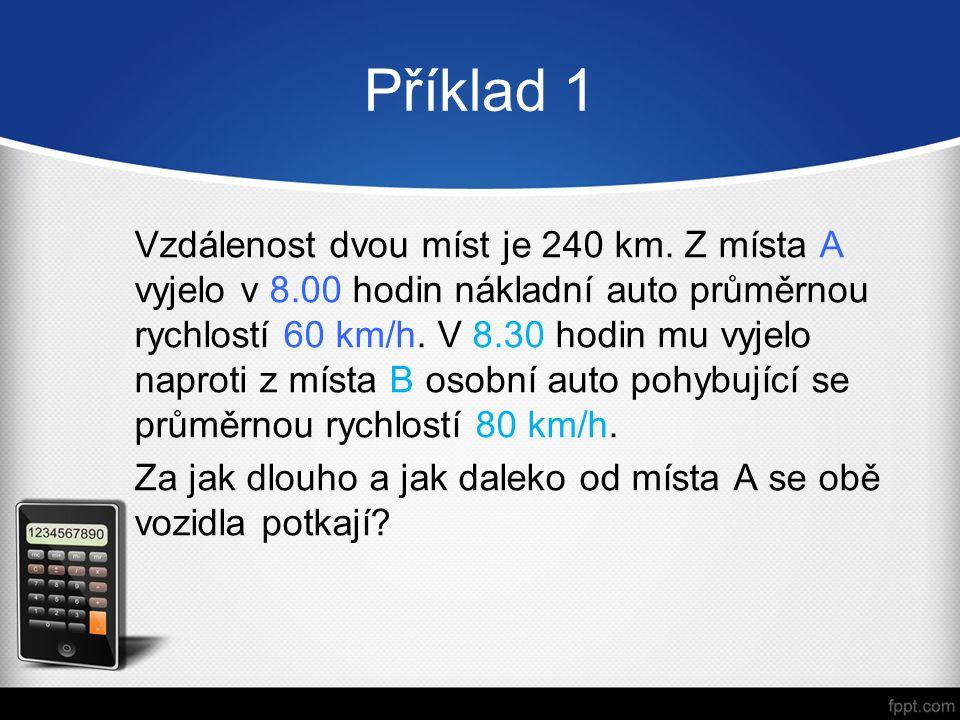 Příklad 1 Vzdálenost dvou míst je 240 km.