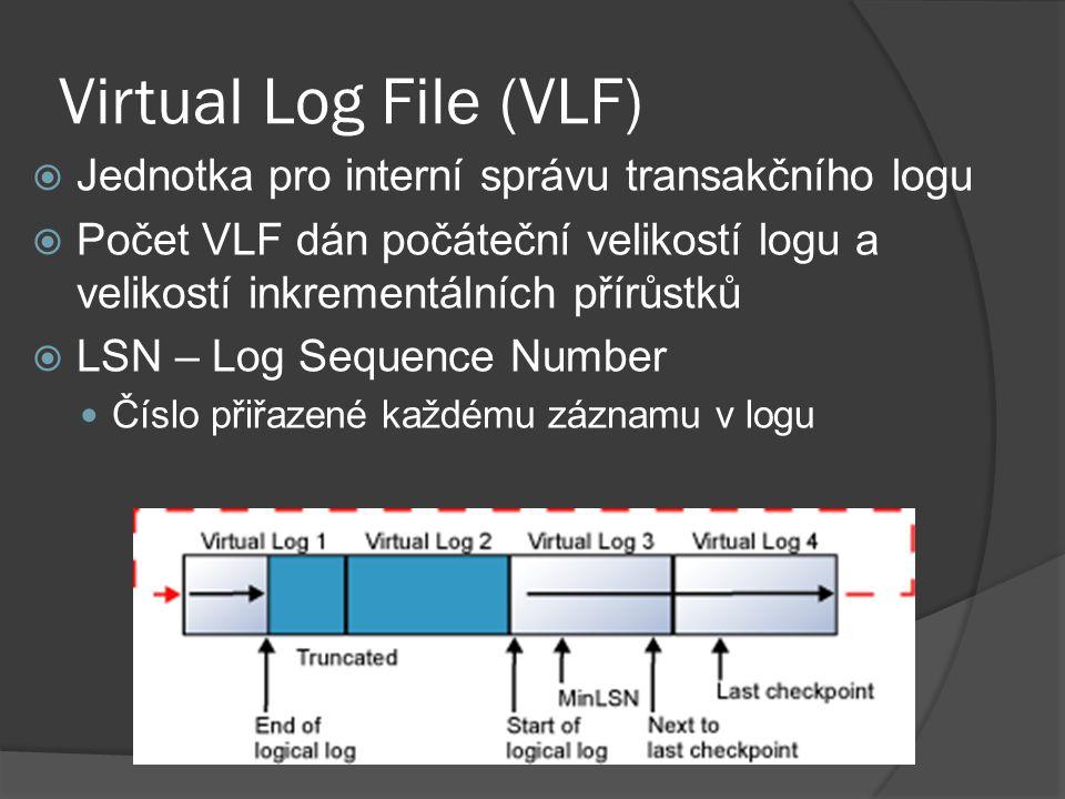 Virtual Log File (VLF)  Jednotka pro interní správu transakčního logu  Počet VLF dán počáteční velikostí logu a velikostí inkrementálních přírůstků  LSN – Log Sequence Number Číslo přiřazené každému záznamu v logu