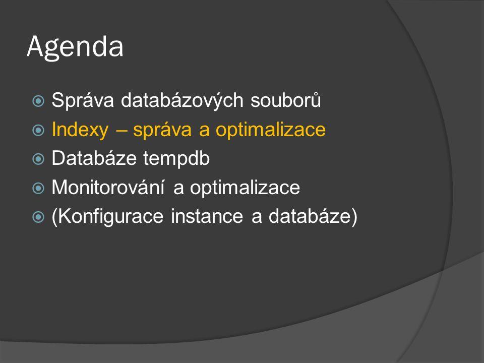 Agenda  Správa databázových souborů  Indexy – správa a optimalizace  Databáze tempdb  Monitorování a optimalizace  (Konfigurace instance a databá