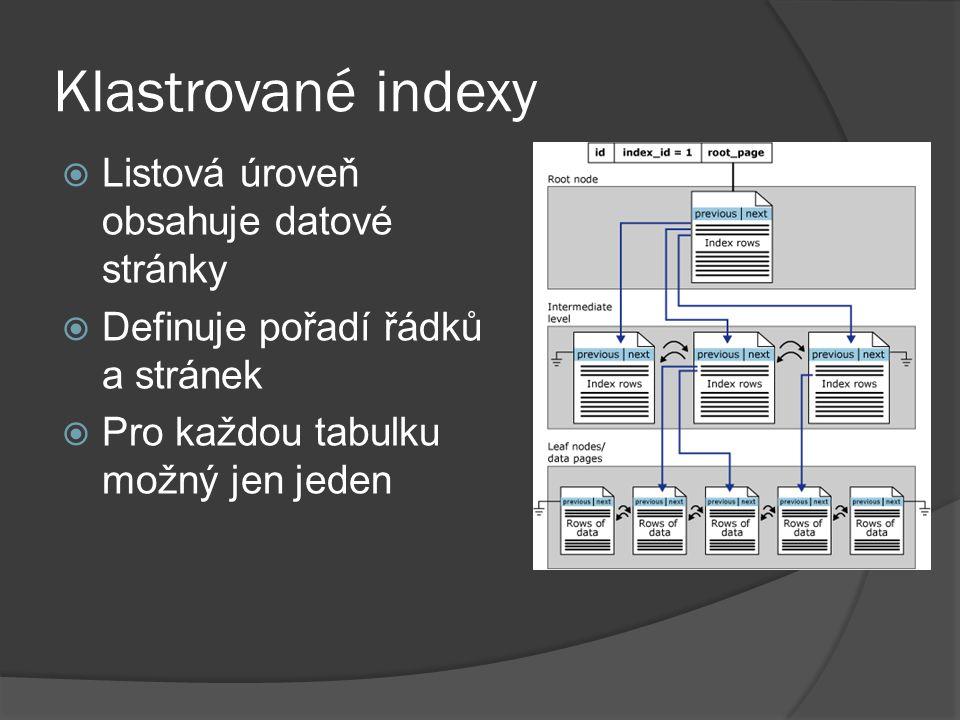 Klastrované indexy  Listová úroveň obsahuje datové stránky  Definuje pořadí řádků a stránek  Pro každou tabulku možný jen jeden