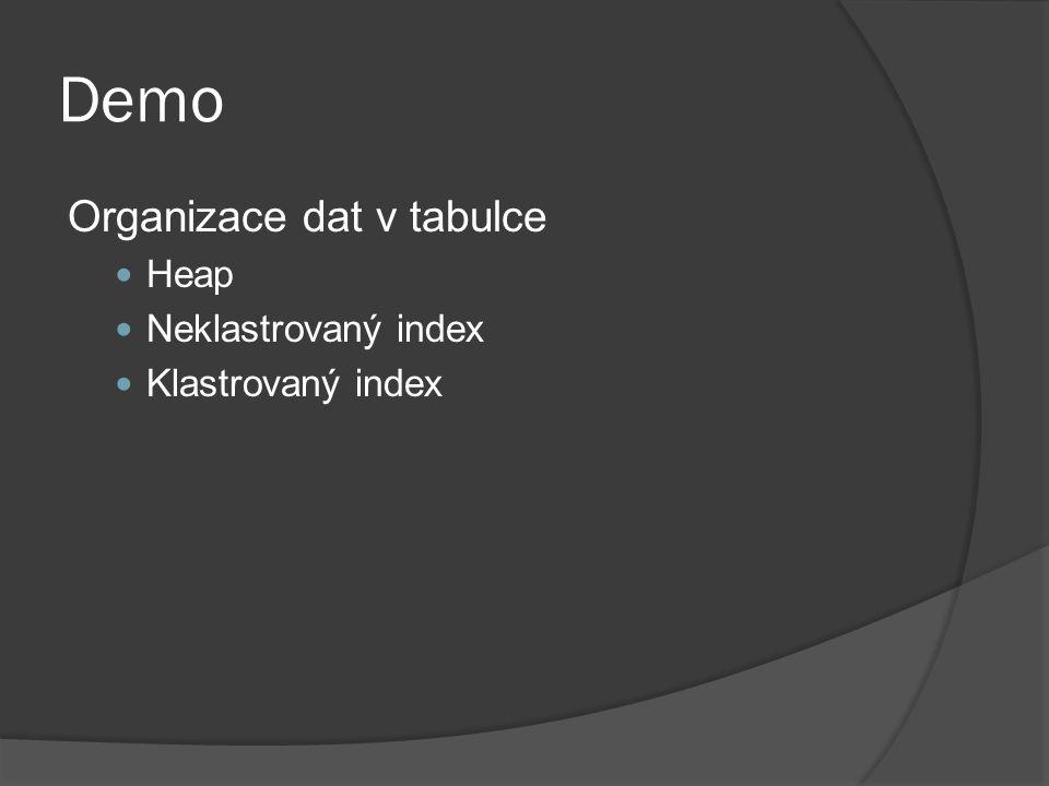 Demo Organizace dat v tabulce Heap Neklastrovaný index Klastrovaný index