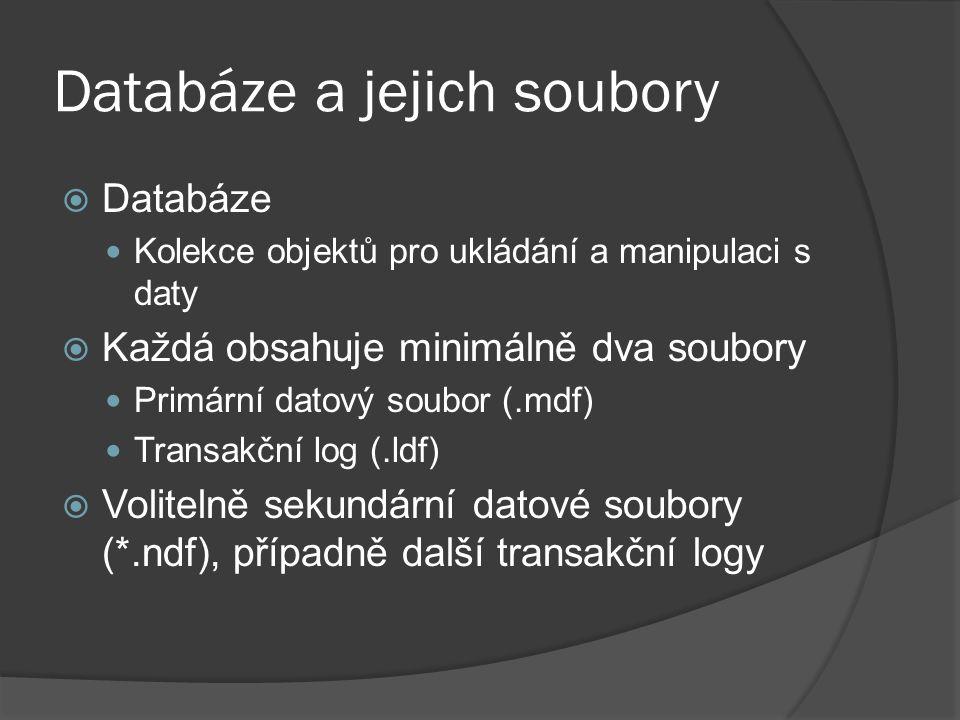 Databáze a jejich soubory  Databáze Kolekce objektů pro ukládání a manipulaci s daty  Každá obsahuje minimálně dva soubory Primární datový soubor (.mdf) Transakční log (.ldf)  Volitelně sekundární datové soubory (*.ndf), případně další transakční logy
