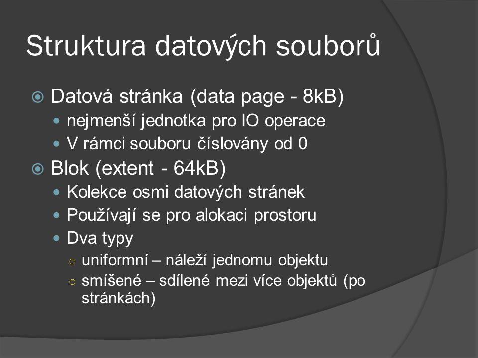 Struktura datových souborů  Datová stránka (data page - 8kB) nejmenší jednotka pro IO operace V rámci souboru číslovány od 0  Blok (extent - 64kB) Kolekce osmi datových stránek Používají se pro alokaci prostoru Dva typy ○ uniformní – náleží jednomu objektu ○ smíšené – sdílené mezi více objektů (po stránkách)
