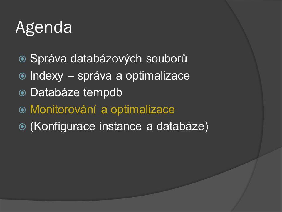 Agenda  Správa databázových souborů  Indexy – správa a optimalizace  Databáze tempdb  Monitorování a optimalizace  (Konfigurace instance a databáze)