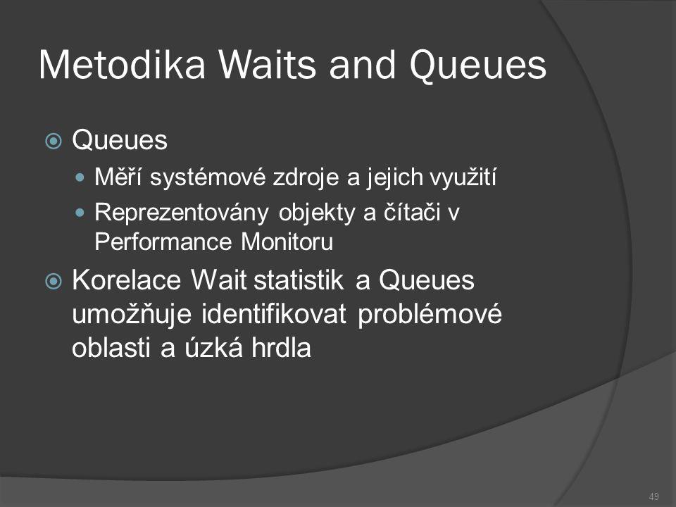 Metodika Waits and Queues  Queues Měří systémové zdroje a jejich využití Reprezentovány objekty a čítači v Performance Monitoru  Korelace Wait stati