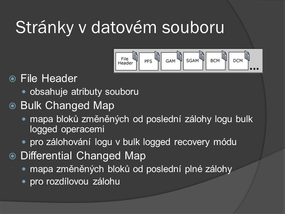 Stránky v datovém souboru  File Header obsahuje atributy souboru  Bulk Changed Map mapa bloků změněných od poslední zálohy logu bulk logged operacem