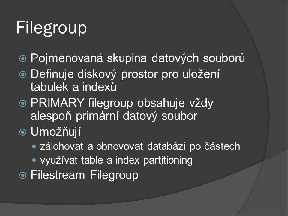 Filegroup  Pojmenovaná skupina datových souborů  Definuje diskový prostor pro uložení tabulek a indexů  PRIMARY filegroup obsahuje vždy alespoň primární datový soubor  Umožňují zálohovat a obnovovat databázi po částech využívat table a index partitioning  Filestream Filegroup