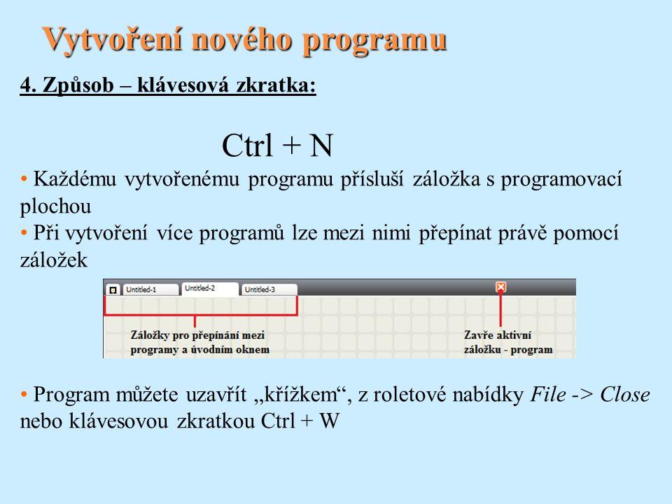 Vytvoření nového programu 4. Způsob – klávesová zkratka: Ctrl + N Každému vytvořenému programu přísluší záložka s programovací plochou Při vytvoření v