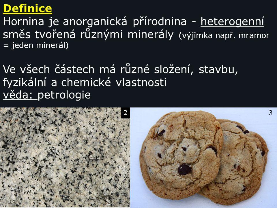 Gymnázium a Jazyková škola s právem státní jazykové zkoušky Svitavy Definice Hornina je anorganická přírodnina - heterogenní směs tvořená různými minerály (výjimka např.