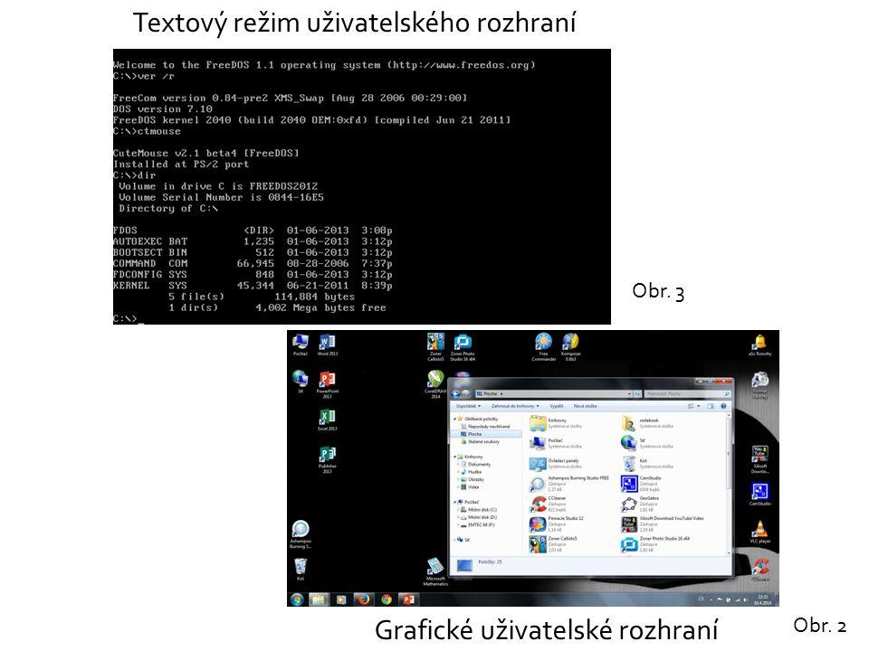 Grafické uživatelské rozhraní Textový režim uživatelského rozhraní Obr. 2 Obr. 3