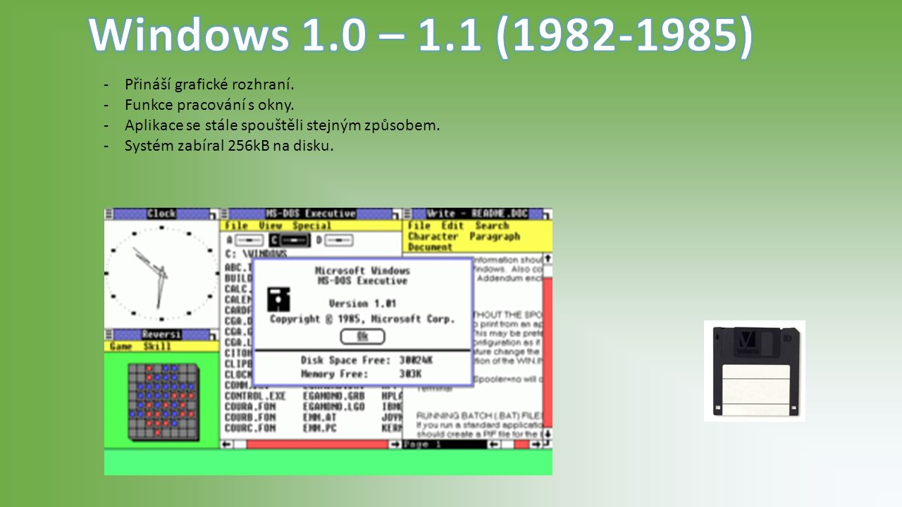 https://redelan.files.wordpress.com/2015/04/windows-evolution.jpg?w=350&h=200&crop=1 http://windows.microsoft.com/cs-cz/windows/history#T1=era0 https://en.wikipedia.org/wiki/MS-DOS https://upload.wikimedia.org/wikipedia/en/thumb/4/4e/Windows1.0.png/300px-Windows1.0.png http://www.zstravnik.cz/informatika/hardware/komunikacni_zarizeni/pocitac_obrazky/diskety_cd/disketa2.jpg http://getintopc.com/wp-content/uploads/2013/09/windows-vista-free.png www.zive.cz http://i1-news.softpedia-static.com/images/news2/Windows-8-Continues-Ascension-in-User-Popularity-Rankings-2.jpg http://blog.pluralsight.com/top-10-reasons-people-hate-windows-vista http://www.computerhistory.org/tdih/March/17/