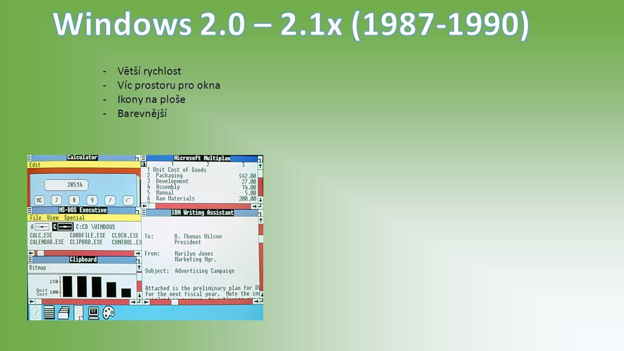-Konec textového rozhraní -Vylepšená práce s okny -Populární systém -16 barev -Vznik Windows (SDK)