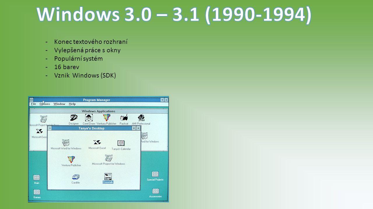 -Windows 95 zavedl vzhled, tak jak ho již známe.-Pracoval na technologii NT.