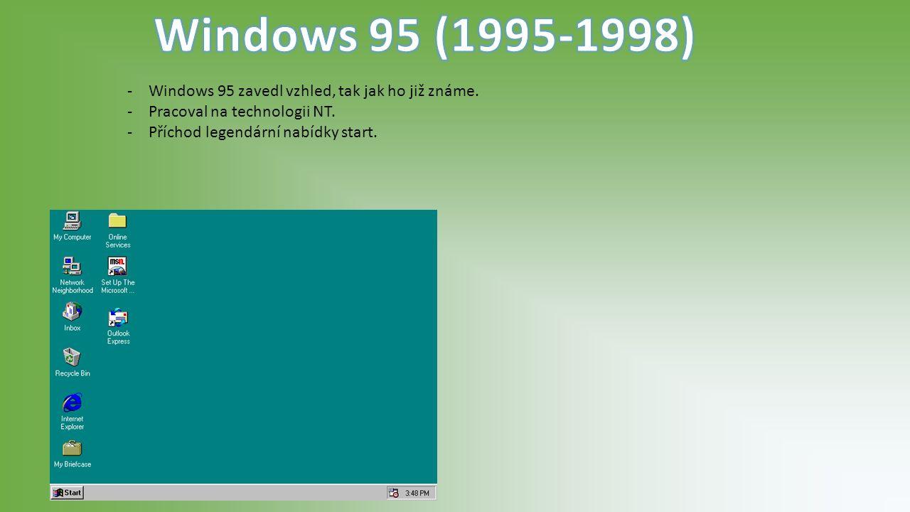 -Windows 95 zavedl vzhled, tak jak ho již známe. -Pracoval na technologii NT.