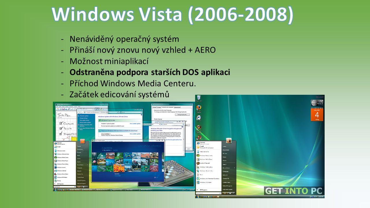 -Nenáviděný operačný systém -Přináší nový znovu nový vzhled + AERO -Možnost miniaplikací -Odstraněna podpora starších DOS aplikaci -Příchod Windows Media Centeru.