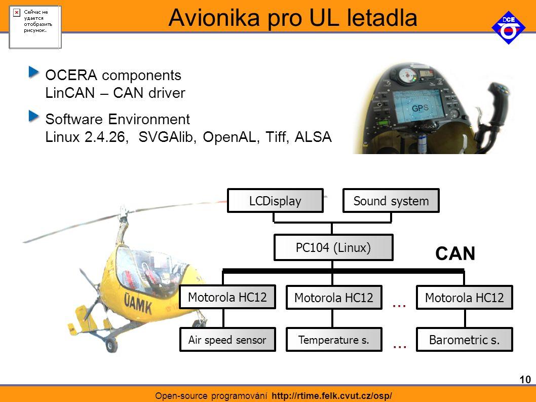 10 Open-source programování http://rtime.felk.cvut.cz/osp/ Avionika pro UL letadla OCERA components LinCAN – CAN driver Software Environment Linux 2.4.26, SVGAlib, OpenAL, Tiff, ALSA Temperature s.