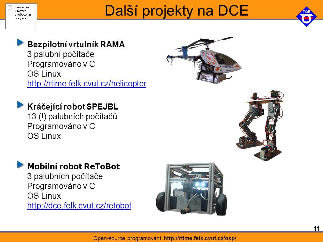 11 Open-source programování http://rtime.felk.cvut.cz/osp/ Další projekty na DCE Bezpilotní vrtulník RAMA 3 palubní počítače Programováno v C OS Linux http://rtime.felk.cvut.cz/helicopter http://rtime.felk.cvut.cz/helicopter Kráčející robot SPEJBL 13 (!) palubních počítačů Programováno v C OS Linux Mobilní robot ReToBot 3 palubních počítače Programováno v C OS Linux http://dce.felk.cvut.cz/retobot http://dce.felk.cvut.cz/retobot