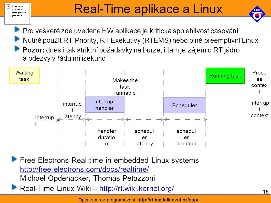 15 Open-source programování http://rtime.felk.cvut.cz/osp/ Real-Time aplikace a Linux Pro veškeré zde uvedené HW aplikace je kritická spolehlivost časování Nutné použít RT-Priority, RT Exekutivy (RTEMS) nebo plně preemptivní Linux Pozor: dnes i tak striktní požadavky na burze, i tam je zájem o RT jádro a odezvy v řádu milisekund Waiting task interrup t latency Interrupt handler Scheduler Running task Interrup t handler duratio n schedul er latency schedul er duration Proce ss contex t Interrup t context Makes the task runnable Free-Electrons Real-time in embedded Linux systems http://free-electrons.com/docs/realtime/ Michael Opdenacker, Thomas Petazzoni http://free-electrons.com/docs/realtime/ Real-Time Linux Wiki – http://rt.wiki.kernel.org/http://rt.wiki.kernel.org/