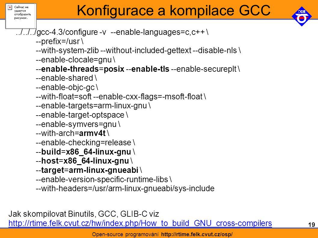 19 Open-source programování http://rtime.felk.cvut.cz/osp/ Konfigurace a kompilace GCC../../../gcc-4.3/configure -v --enable-languages=c,c++ \ --prefix=/usr \ --with-system-zlib --without-included-gettext --disable-nls \ --enable-clocale=gnu \ --enable-threads=posix --enable-tls --enable-secureplt \ --enable-shared \ --enable-objc-gc \ --with-float=soft --enable-cxx-flags=-msoft-float \ --enable-targets=arm-linux-gnu \ --enable-target-optspace \ --enable-symvers=gnu \ --with-arch=armv4t \ --enable-checking=release \ --build=x86_64-linux-gnu \ --host=x86_64-linux-gnu \ --target=arm-linux-gnueabi \ --enable-version-specific-runtime-libs \ --with-headers=/usr/arm-linux-gnueabi/sys-include Jak skompilovat Binutils, GCC, GLIB-C viz http://rtime.felk.cvut.cz/hw/index.php/How_to_build_GNU_cross-compilers
