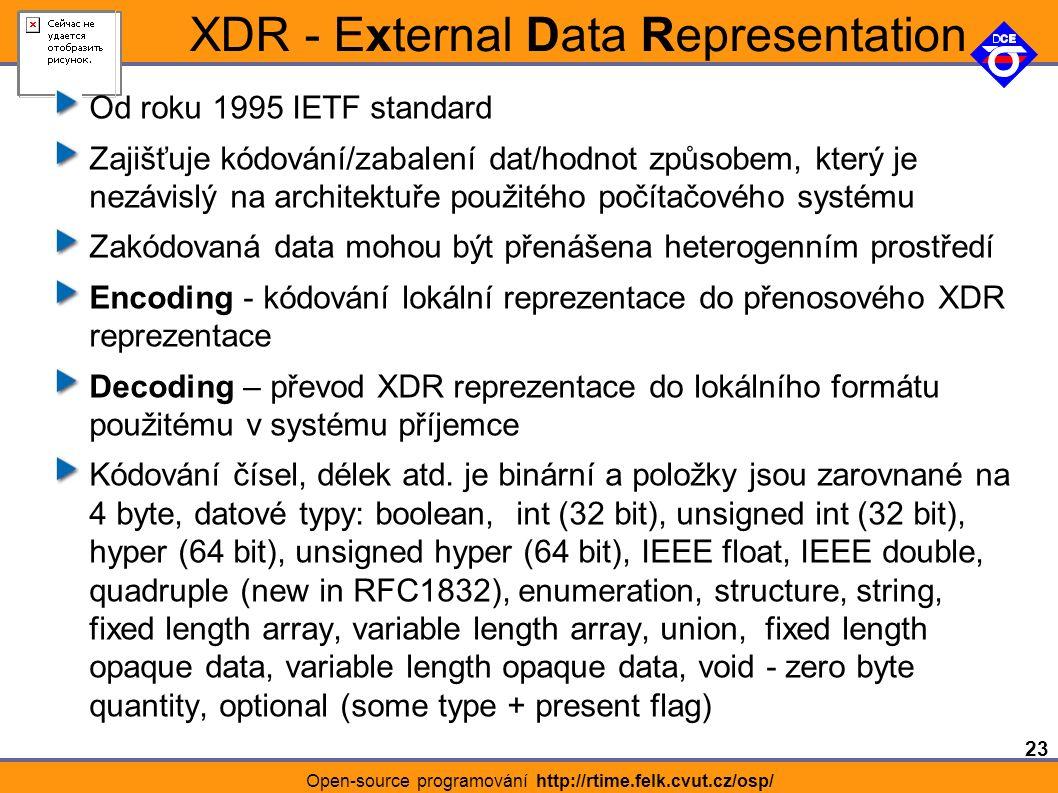 23 Open-source programování http://rtime.felk.cvut.cz/osp/ XDR - External Data Representation Od roku 1995 IETF standard Zajišťuje kódování/zabalení dat/hodnot způsobem, který je nezávislý na architektuře použitého počítačového systému Zakódovaná data mohou být přenášena heterogenním prostředí Encoding - kódování lokální reprezentace do přenosového XDR reprezentace Decoding – převod XDR reprezentace do lokálního formátu použitému v systému příjemce Kódování čísel, délek atd.