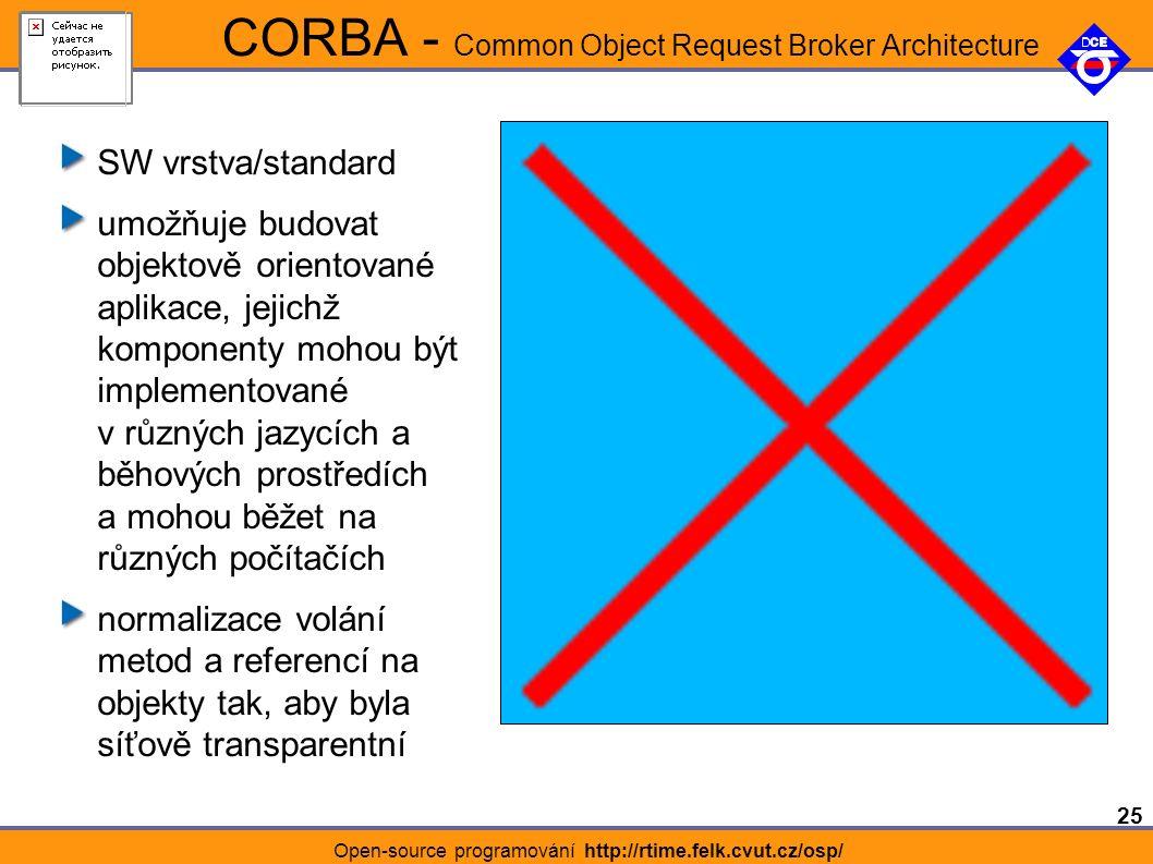 25 Open-source programování http://rtime.felk.cvut.cz/osp/ CORBA - Common Object Request Broker Architecture SW vrstva/standard umožňuje budovat objektově orientované aplikace, jejichž komponenty mohou být implementované v různých jazycích a běhových prostředích a mohou běžet na různých počítačích normalizace volání metod a referencí na objekty tak, aby byla síťově transparentní