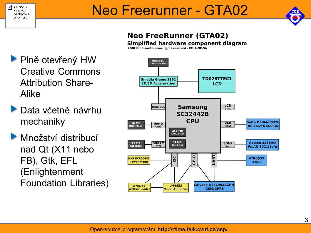 3 Open-source programování http://rtime.felk.cvut.cz/osp/ Neo Freerunner - GTA02 Plně otevřený HW Creative Commons Attribution Share- Alike Data včetně návrhu mechaniky Množství distribucí nad Qt (X11 nebo FB), Gtk, EFL (Enlightenment Foundation Libraries)