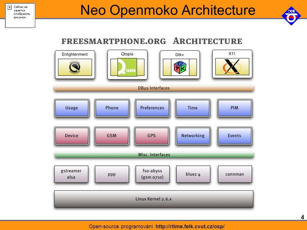 4 Open-source programování http://rtime.felk.cvut.cz/osp/ Neo Openmoko Architecture