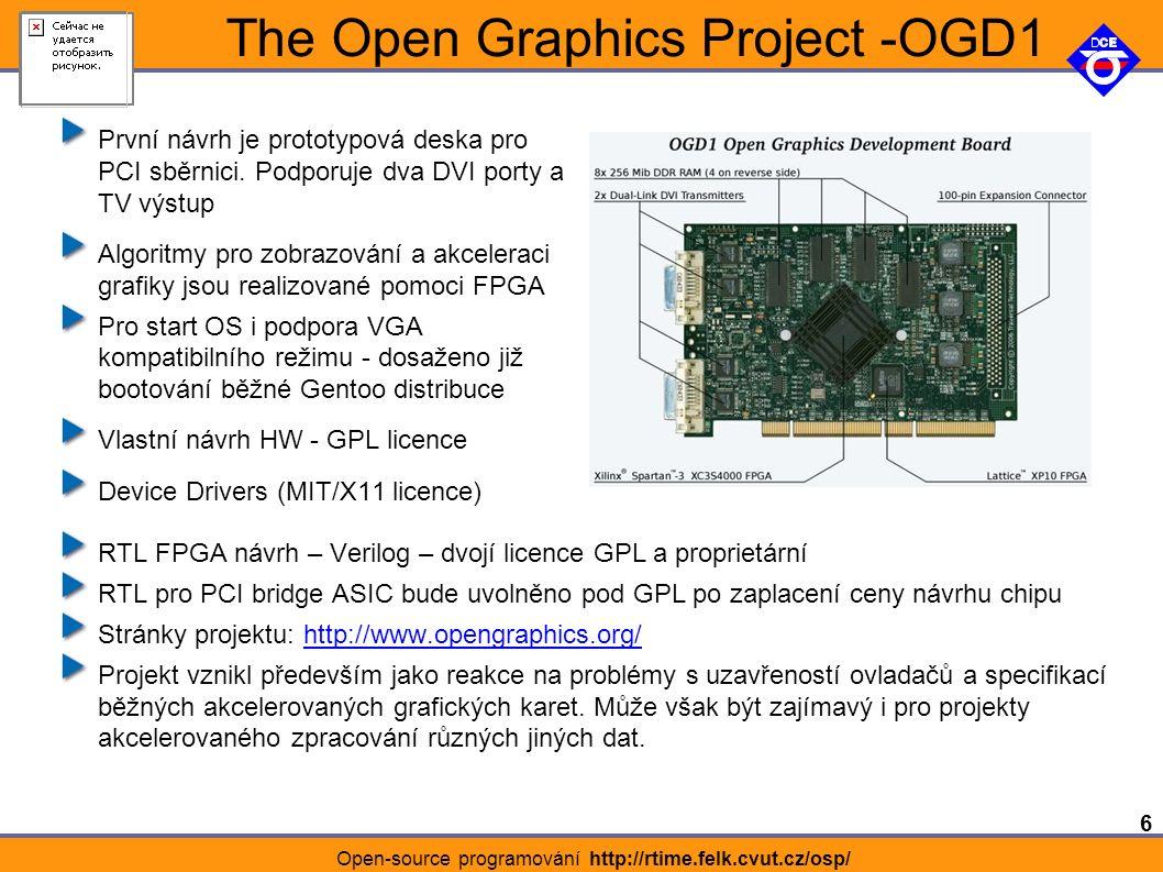 6 Open-source programování http://rtime.felk.cvut.cz/osp/ The Open Graphics Project -OGD1 První návrh je prototypová deska pro PCI sběrnici.