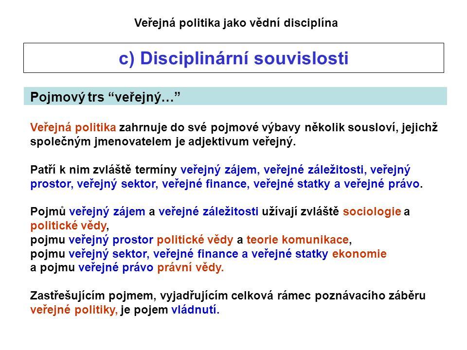 Veřejná politika jako vědní disciplína c) Disciplinární souvislosti Pojmový trs veřejný… Veřejná politika zahrnuje do své pojmové výbavy několik sousloví, jejichž společným jmenovatelem je adjektivum veřejný.